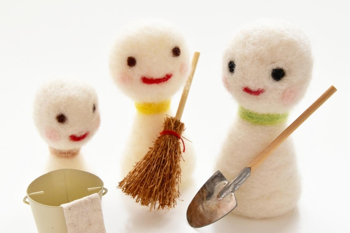 掃除、掃除用具、箒、ほうき、ちりとり、モップ、てるてる坊主