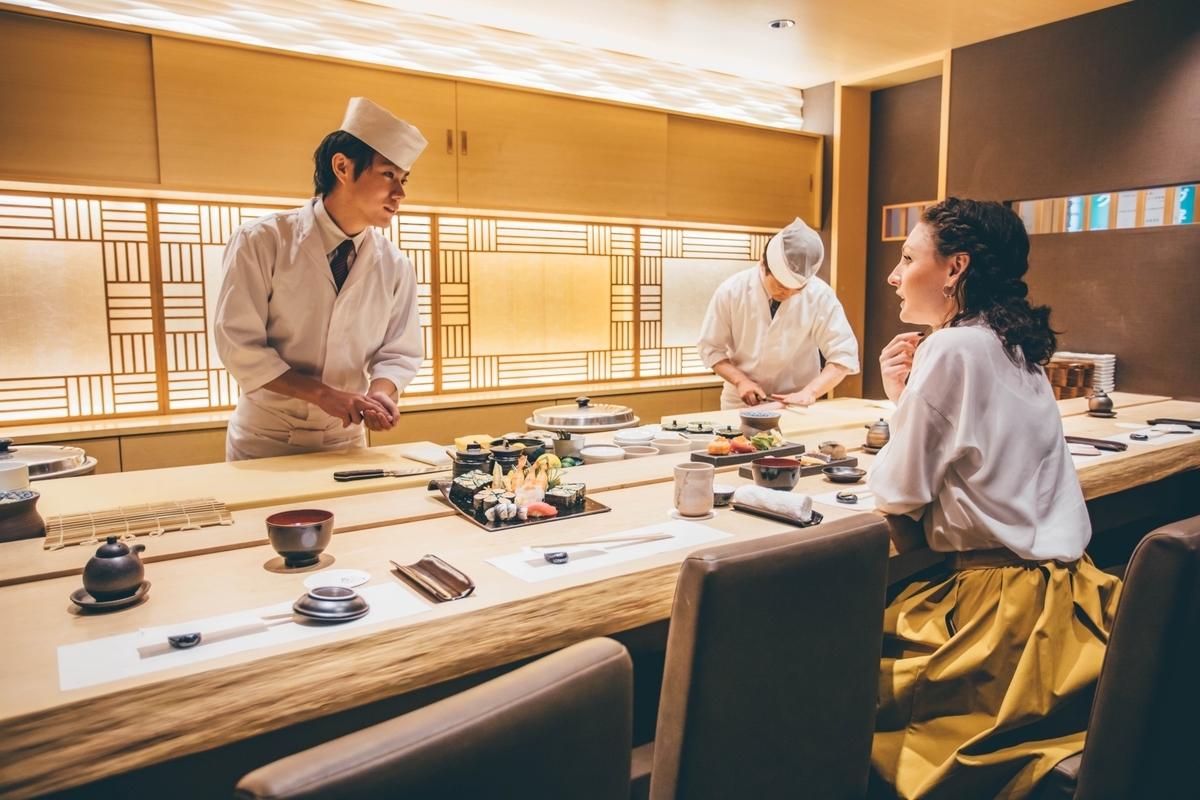 納豆、寿司、女性、外国人、観光