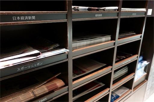 新聞や雑誌が置いてあるスペース