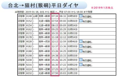 台北から猫村、平日ダイヤ表