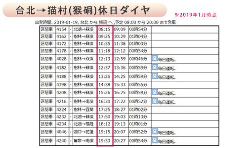 台北から猫村、休日ダイヤ表