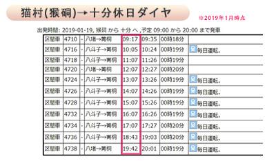 猫村→十分ダイヤ表きゅじつ