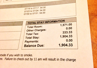 The amount of money spent for the actual 28-day stay