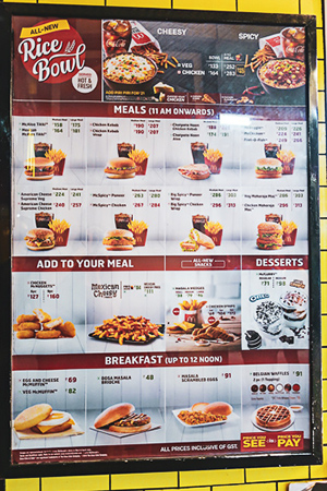 McDonald's menu in Mumbai