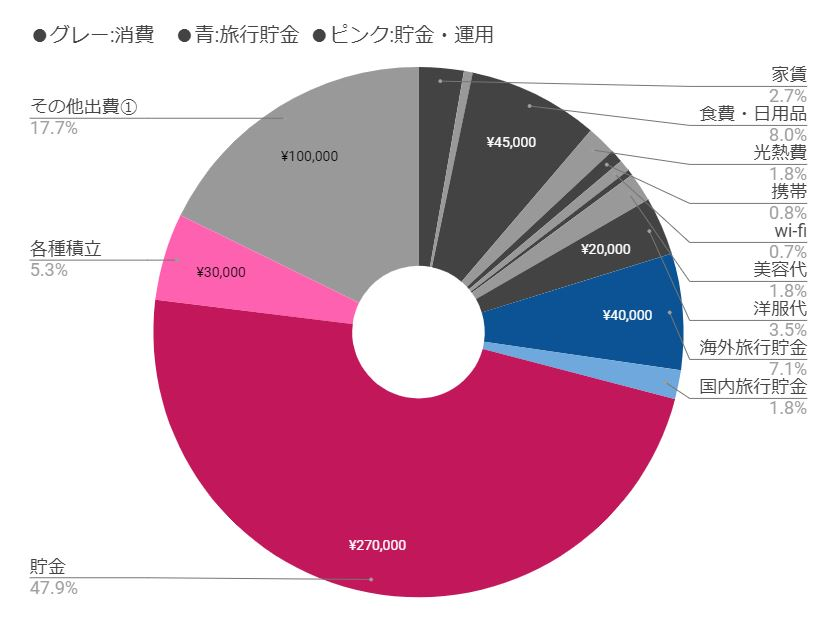 都内共働き夫婦5月家計簿割合