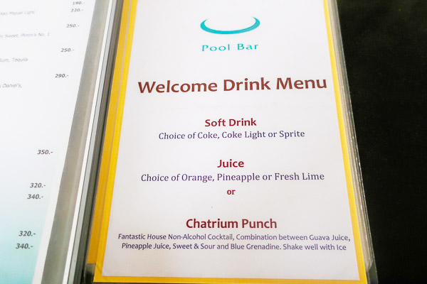 Welcome drink ticket: pool bar menu
