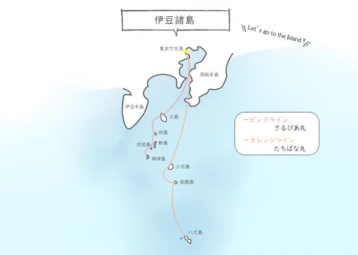 伊豆七島の地図と船路線図