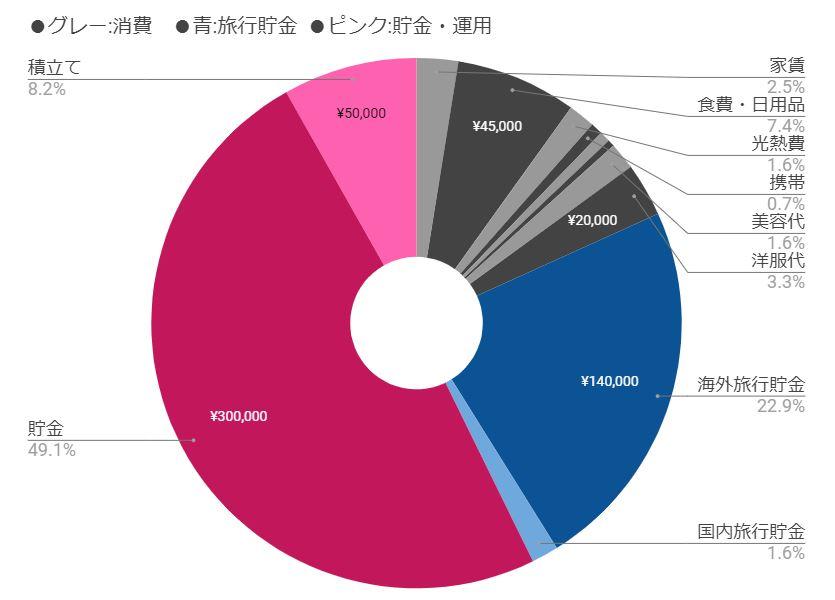 6月家計簿割合グラフ