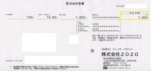 第21期(2019年3月配当) ZOZOの配当金は1株10円