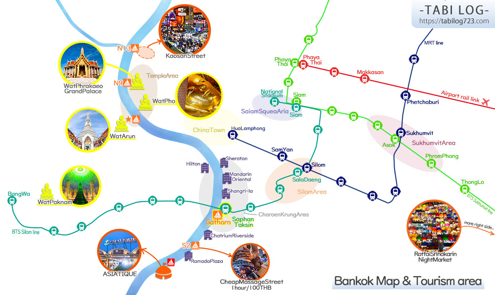 Bangkok tourist site route train boat Map