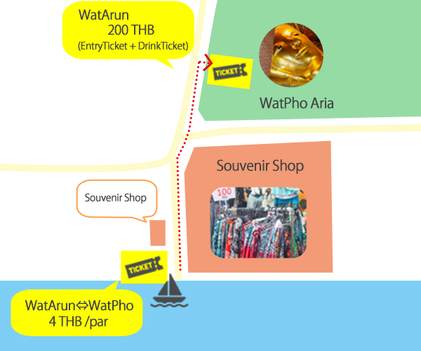 How to get to Wat Pho from the pier map