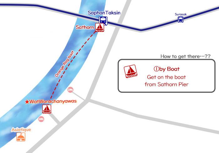 ①How to get to Wat Worachanyawas by Boat