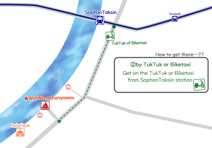 ②How to get to Wat Worachanyawas by TukTuk or Biketaxi