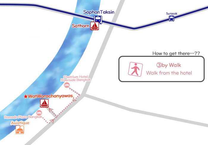 ③How to get to the 'Wat Worachanyawas' by Walk