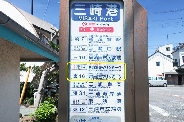 三崎港バス停から油壺マリンパークへ