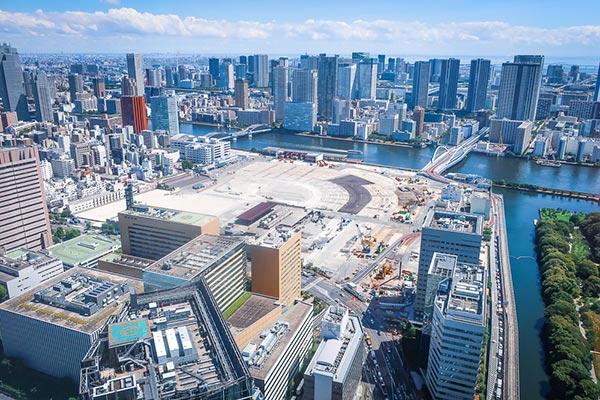 カレッタ汐留展望台からの眺め築地方面