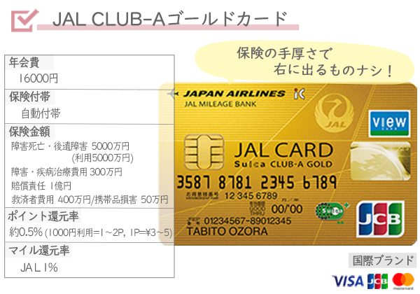 海外旅行オススメクレジットカードJALCLUBAゴールドカード年会費保険