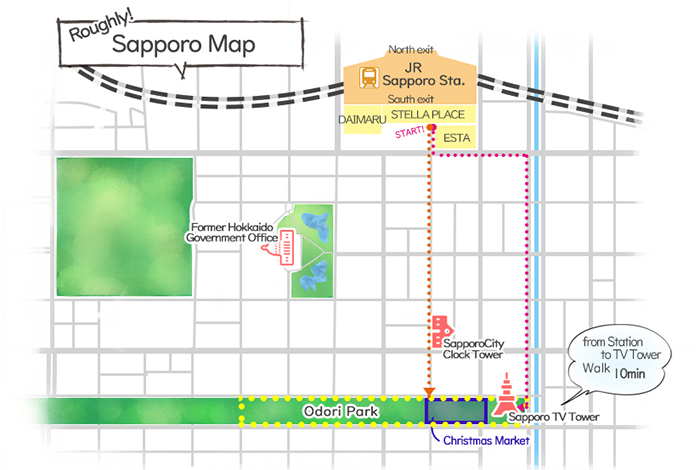 Munich Christmas Market Directions & Sapporo Map