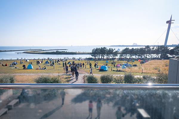 その先に見えた芝生と東京湾