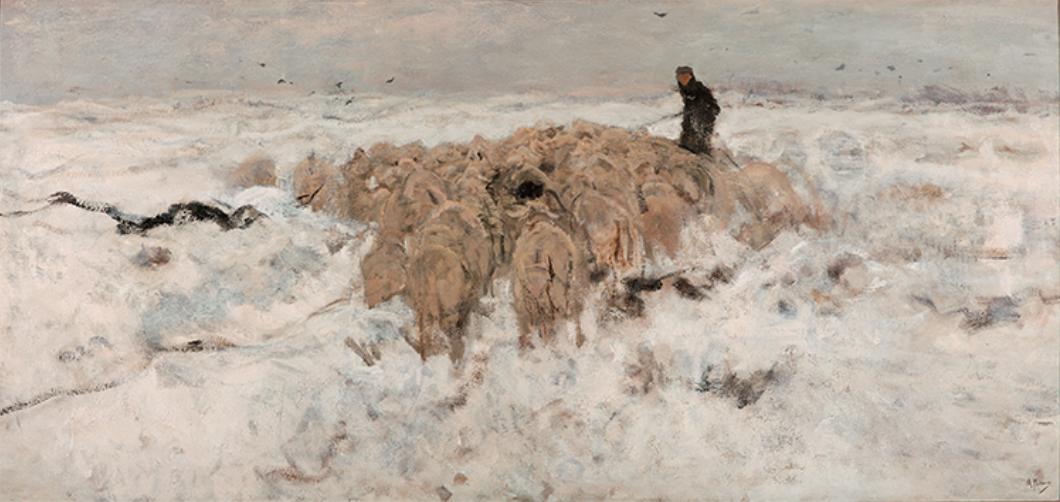 『雪の中の羊飼いと羊の群れ』アントン・マウウェ