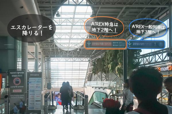 AREXエーレックス直通は地下2階一般列車は地下3階