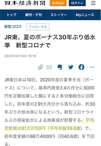 JR東日本2020年夏ボーナス