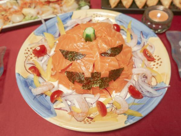 ジャックオランタンの寿司ケーキ