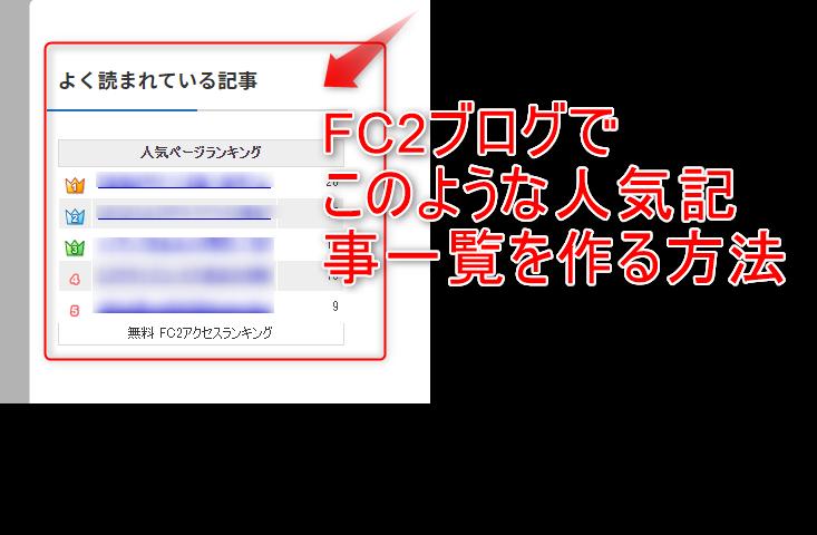 FC2ブログ人気記事一覧作成方法