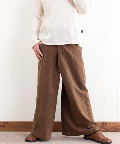 草木染手織り綿のタイパンツ