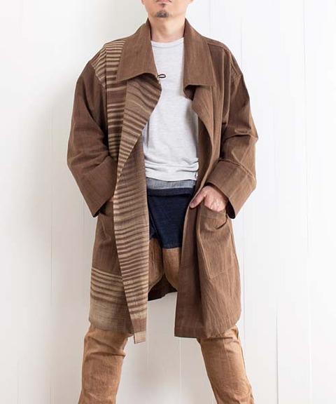 草木染手織り綿のビッグカラーデザインコート