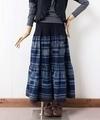 エスニックスカート/モン族藍染めバティックロングスカート