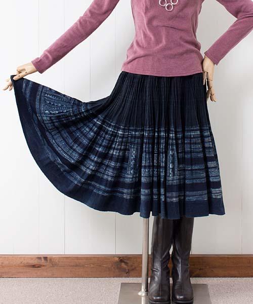 エスニックスカート/モン族藍染めバティックミディスカート