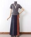 モン族ヘンプのマキシ丈巻きスカート