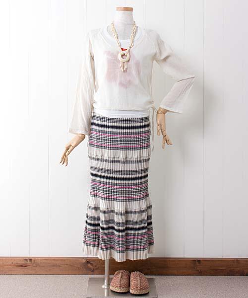 マーメイド風モン族プリーツロングスカート