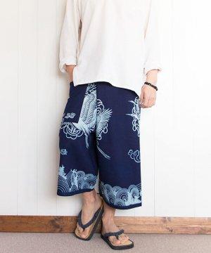 和柄タイパンツ(鶴と波)