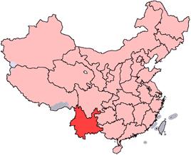 雲南省の位置