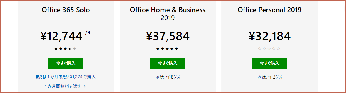 Office 2019とOffice 365 Solo