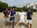 試合後(左から岩田、渡邉さん、杉浦さん、青木)