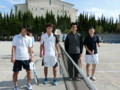 試合後(左から関さん、小松、松林さん、原田さん)