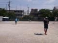 試合風景(手前から渕さん、涼太さん、鷲尾さん、辰哉さん)