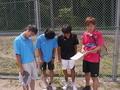 試合後(左から、涼太さん、辰哉さん、内海、江口)