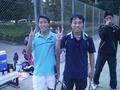 加藤、東海初勝利(左から内海、加藤)