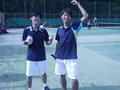 試合後(左から伊藤、北野)