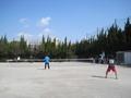 試合風景②(手前後衛から那須さん、小嶋さん、川出さん、深谷さん)