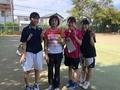 試合後③(右から田中、碧山、鹿鳥さん、優芽さん)
