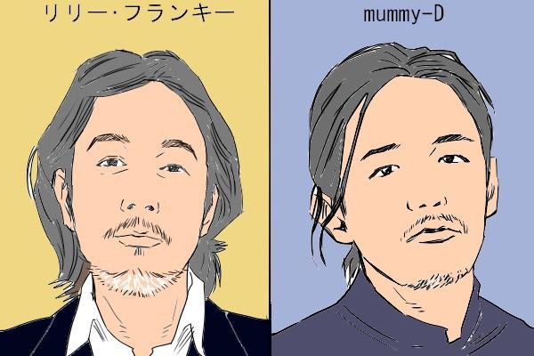 リリーフランキーの似顔絵イラストと、Mummy-Dの似顔絵イラスト