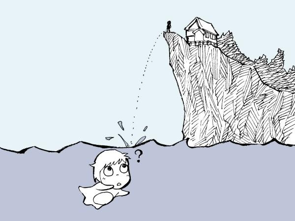 イラスト『崖の上のポニョ/崖の上で放尿』