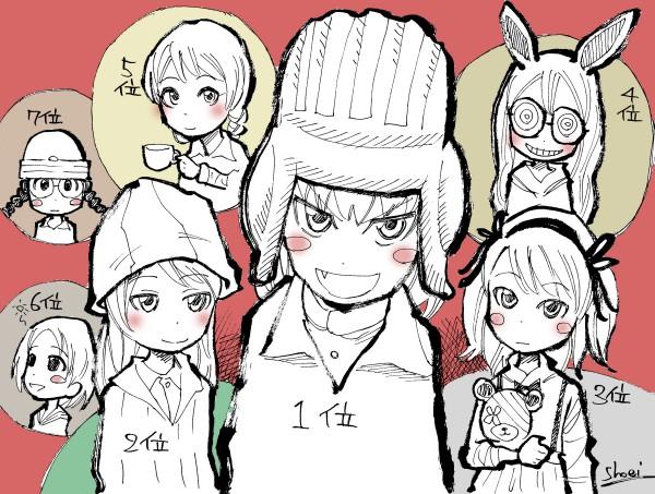 『ガルパン』イラスト、キャラ・ランキング、カチューシャ、ミカ、愛里寿、ねこにゃー、ダージリン、丸山紗希、福田