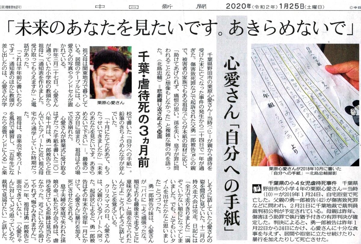 2020年1月25日 中日新聞