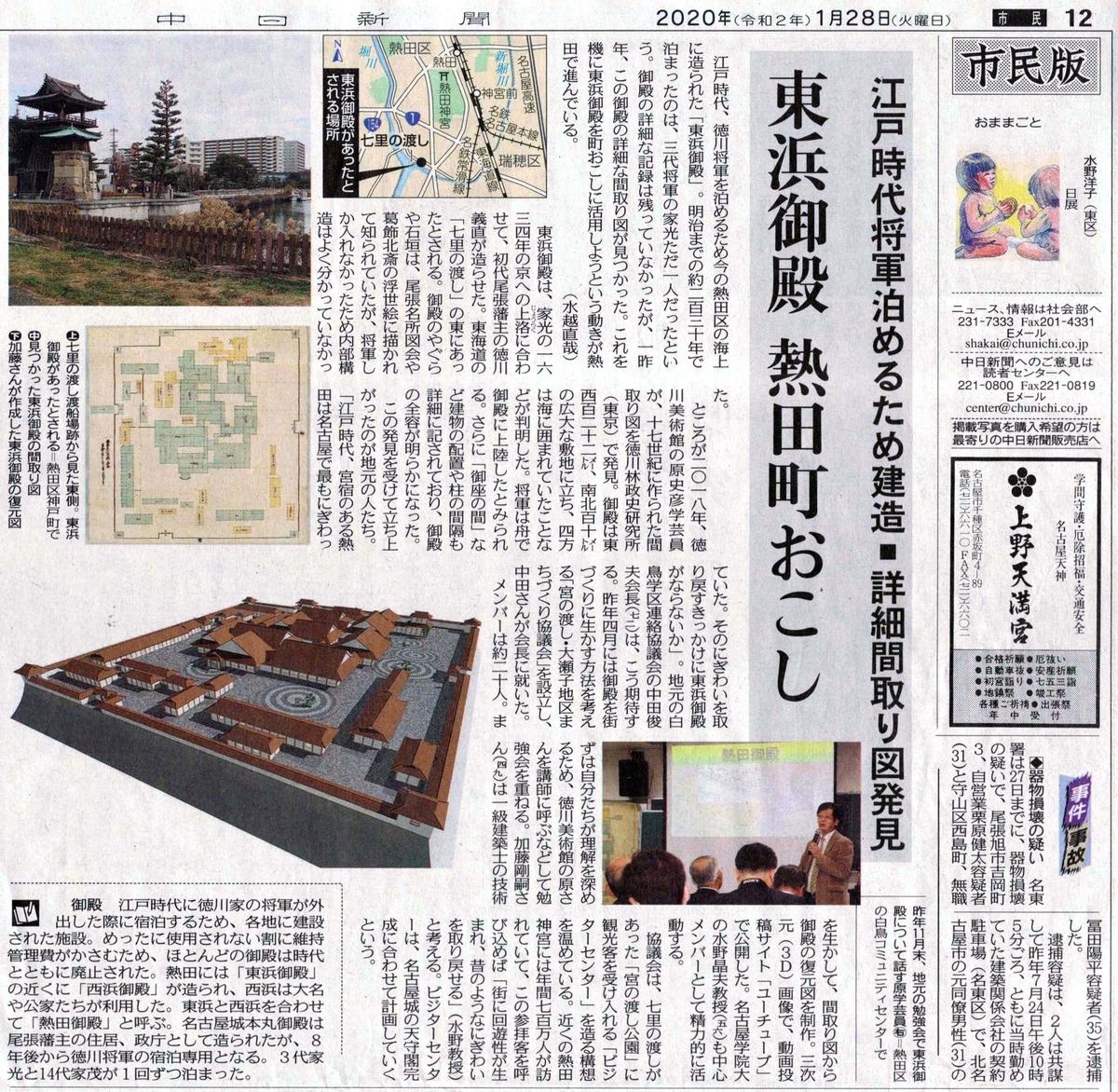 2020年1月28日 中日新聞 市民版 東浜御殿 熱田町おこし